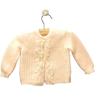1960's Pink and White Baby Girl Knit Sweater Set