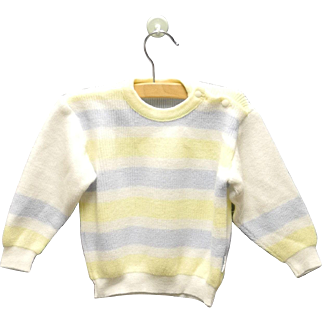 Vintage Adorable 1960's Petit Bateau White, Blue and Yellow Baby Sweater