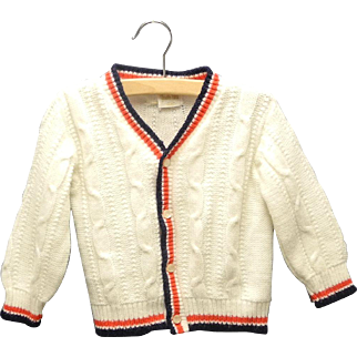Vintage Adorable 1960's Ivory, Navy Blue and Red Button Down Cable Knit Baby Sweater