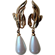 "Elegant Richelieu Faux Pearl Pear Shape 2"" Drop Clip Earrings in Gold Tone"