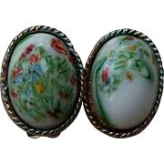 Oval White Glass Clip Earrings - Hand Painted Swirl design in Green/Red/Yellow - Hallmarked Japan
