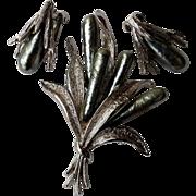 1960's Capri Silver Tone & Faux Black Pearl Pin & Clip Earring Set