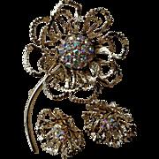 Sarah Coventry Allusion Gold Tone Delicate Filigree Floral Flower Pin & Clip Earring Set - Auroa Borealis Rhinestones