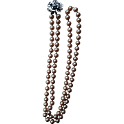 """Vintage Judy Lee Simulated 32"""" Pearl Necklace with Silver Tone Flower Pendant"""