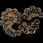 1960's Sarah Coventry Honey Bunch Pin & Clip Earring Set - Simulated Teardrop Pearls & Rhinestones
