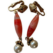 Pink Coral & Faux Pearl Dangle Clip Earrings from Coro