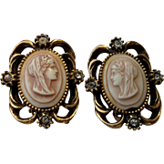 Vintage Cameo Clip Earrings in Beige Plastic & Rhinestones - Grecian Woman's Profile - Unmarked