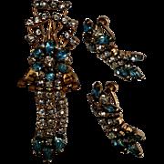 Delicate Baby Blue & Clear Rhinestone 12K Gold Filled Pin/Pendant & Screw Back Earring Set - M&S Hallmark