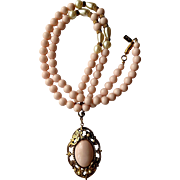 """1928"" Pale Pink Bead & Simulated Pearl 25"" Necklace with Large Cabochon Pendant"
