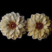 "Big Crown Trifari White Lucite Flower 2"" Clip Earrings with Gold Tone Accent - Fun Design"
