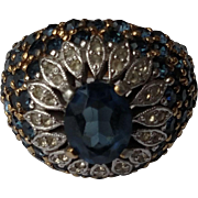 Impressive Panetta Sterling Silver & Gold Vermeil Domed Ring-Simulated Sapphires & Diamonds-Size 7 1/2