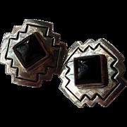 "American Southwest Sterling Silver & Onyx 3/4"" Clip Earrings - Hallmark D ALV"