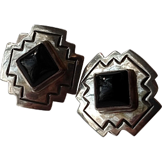 "American Southwest Sterling Silver & Onyx 3/4"" Clip Earrings - Hallmark D ALV"