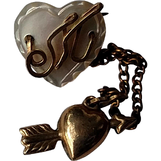 1940's Sweetheart Pin - Mother of Pearl Heart with Letter M & Cupid's Arrow Charm