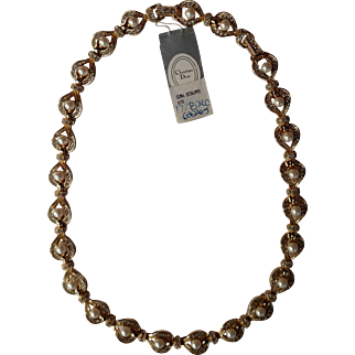 "Stunning New Christian Dior Swarovski Crystal & Simulated Pearl Gold Tone 16"" to 18"" Necklace"