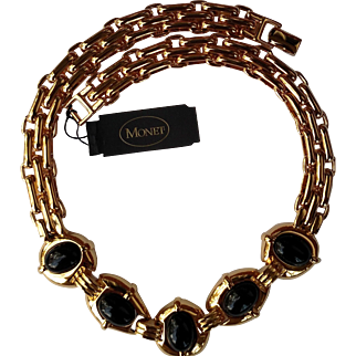 "NEW Monet 17"" Necklace in Polished Gold Tone with Heavy Links & Black Oval Panels"