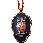 """Vintage Bell Trading Post Copper Owl Pendant with 30"""" Chain - Hallmarked"""