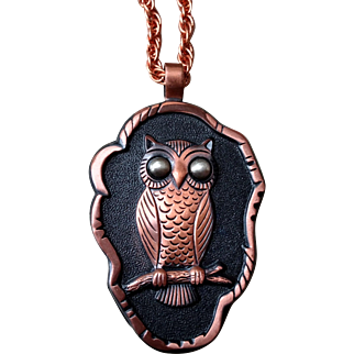 "Vintage Bell Trading Post Copper Owl Pendant with 30"" Chain - Hallmarked"