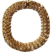 "Nice & Heavy Napier Gold Tone 18"" Necklace in a Haute Couture Wide Basketweave Pattern"