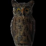 Antique Austrian Miniature Cold Painted Bronze of a Great Horned Owl-Austria Hallmark