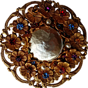 Miriam Haskell Faux Barque Pearl Pin Surrounded by Tiny Flowers with Multi Color Centers