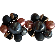 Shades of Black & Pink Plastic Bead Clip Earrings - Japan Hallmark