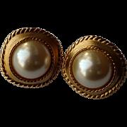 1990's Kenneth Jay Lane KJL & Avon Clip Earrings - Round Faux Pearl - Brushed Gold Tone Setting