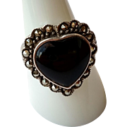 Sweet Sterling Silver & Black Onyx Heart Shaped Ring - Artisan Hallmark SU - Size 8.5