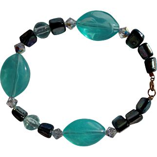 """Shades of Teal Blue & Clear Chunky Bead 8"""" Bracelet - Hallmark 1/20 14KGF Clasp"""