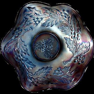 Dugan Amethyst Purple Iridescent Carnival Glass Holly & Berry Ruffled Bowl - Free Shipping!