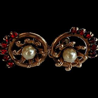 12KGF Simulated Pearl & Red Ruby Screw Back Earrings - Bigney Hallmark