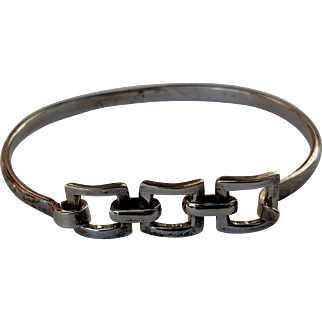 Very Sweet Sterling Silver 925 Three Connected Squares Bangle Bracelet