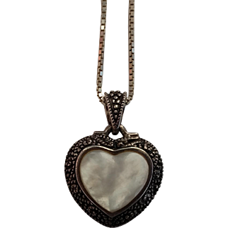 """Mother of Pearl, Marcasite & Sterling Silver Heart Pendant w/20"""" Chain Necklace"""