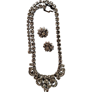 Big & Bold 1950's Weiss Rhinestone Statement Necklace & Sarah Coventry Earrings