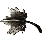 "1960's Beau Sterling Silver Canadian Maple Leaf 2"" Pin"