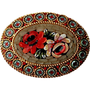 "Beautiful Glass Micro Mosaic Oval Floral Flower 1 1/2"" Pin in Shades of Pink & Red"