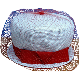Vintage 1950's White Pill Box Women's Hat with Orange Bow & Mesh