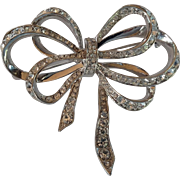 Signed Kenneth Jay Lane KJL for Avon - Large Ribbon Bow Silver Tone Pin with Rhinestones
