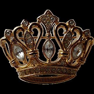 Signed Kenneth Jay Lane KJL for Avon - Gold Tone & Rhinestone Royalty Crown Pin