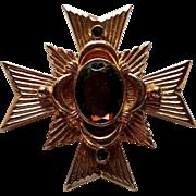 Jewel Maltese Cross Smokey Rhinestone Gold Tone Pin or Pendant from Avon