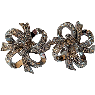 Signed Kenneth Jay Lane KJL for Avon - Ribbon Bow Silver Tone Clip Earrings with Rhinestones