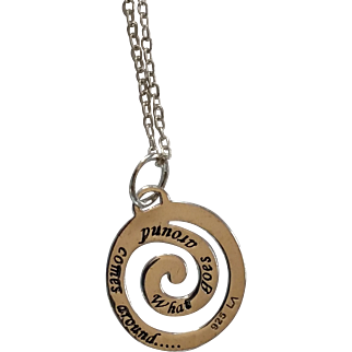 "Sterling Silver Spiral Pendant Stamped ""What Goes Around Comes Around"" w/16"" Necklace"