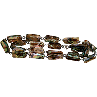 """Vintage Abalone 29"""" Necklace w/20 Individual Rectangle Iridescent Shell Panels"""