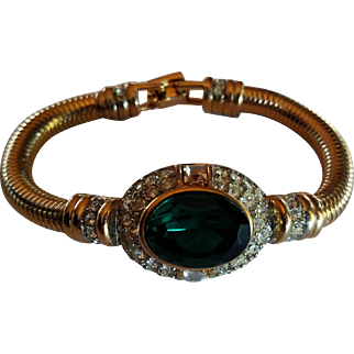 1980's Simulated Emerald & Crystal Bracelet -Gold Tone Snake Chain - from Bijoux Terner