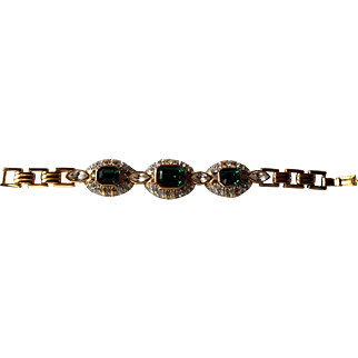 """1980's Simulated Three Panel Emerald & Crystal 7"""" Gold Tone Bracelet from Bijoux Terner"""