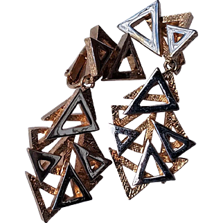 "Panetta Two Tone Silver & Gold Tone 2"" Clip Earrings with Clusters of Triangles"