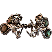 Unique 1950's Sterling Silver & Abalone Shell Pixie Elf Fairy Screw Back Earrings from Cyvra