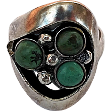 Mexico Sterling Silver & Natural Green Turquoise Ring - 925, Artist Hallmark - Size 7