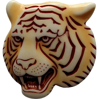 """Unique & Nicely Detailed Roaring Tiger Head 2"""" Pin - Unmarked"""