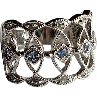 Delicate Sterling Silver Openwork Filigree Ring with Blue/Clear CZs - Signed, 925 Hallmark - Size 8.5